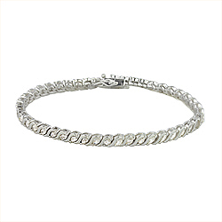 Sterling Silver Wave and Marquise CZ Tennis Bracelet