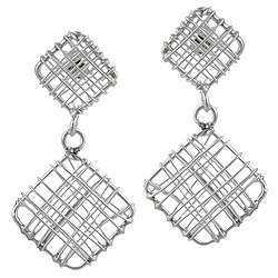 Sterling Silver Two Squares Wire Stud Earrings
