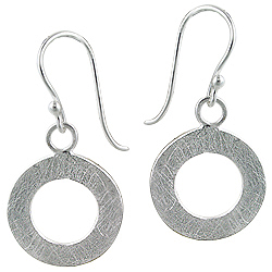 Sterling Silver Open Circle Scratch Finish Dangle Earrings