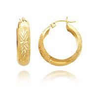 14K Gold Laser & Diamond-Cut Polished Hoop Earrings