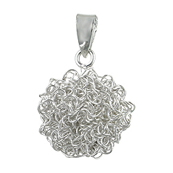 Sterling Silver Spiral Wire Ball Pendant