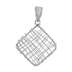 Sterling Silver Wire Square Pendant