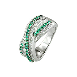 Sterling Silver White and Green Pave CZ Cross Over Ring
