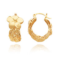14K Gold Satin & Polished Plumeria Hoop Earrings