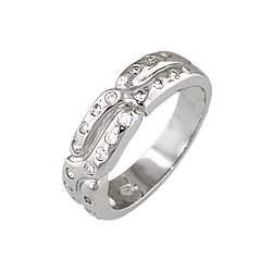 Sterling Silver Rhodium Finish Twist CZ Anniversary Ring