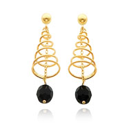 14K Gold Onyx Bead Dangle Spiral Post Earrings