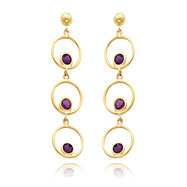 14K Gold Amethyst Triple Drop Circle Dangle Post Earrings