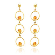 14K Gold  Citrine Triple Drop Circle Dangle Post Earrings