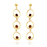 14K Gold Garnet Triple Drop Circle  Dangle Post Earrings
