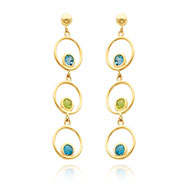 14K Gold Blue Topaz And Peridot Triple Drop Circle Dangle Earrings