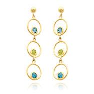 14K Gold Blue Topaz And Peridot Triple Drop Circle Dangle Earrings