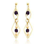 14K Gold Cultured Pearl And Amethyst Geometric Shape Dangle Earrings