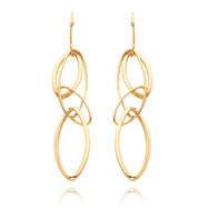 14K Gold Fancy Oval Drop Earrings