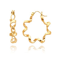 14K Gold Fancy Spiral Hoop Earrings
