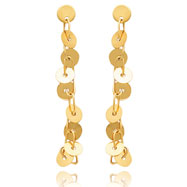 14K Gold Open Link With Round Disk Post Earrings