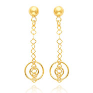 14K Gold Fancy Dangle Post Earrings