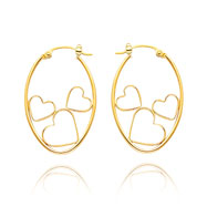 14K Oval Hoop With Open Hearts Earrings