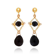 14K Gold Created Blue Gold-Stone Dangle Earrings