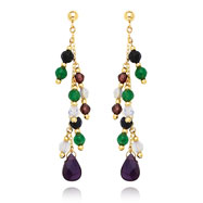 14K Gold Multi-Colored Gemstone Dangle Earrings