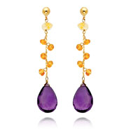 14K Gold  Citrine And Amethyst Dangle Earring