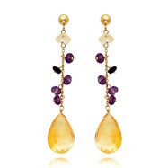 14K Gold Citrine And Amethyst Dangle Earrings