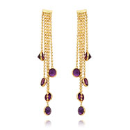 14K Gold Amethyst Gemstone Dangle Earrings