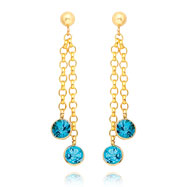 14K Gold  Blue Topaz Dangle Earrings