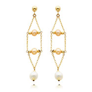 14K Gold Pink And White Pearl Dangle Earrings