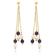 14K Gold Pearl And Amethyst Dangle Earrings