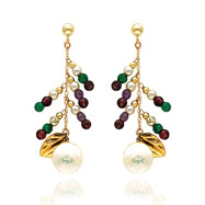 14K Gold Multi-Colored Gemstones And Pearl Dangle Earrings