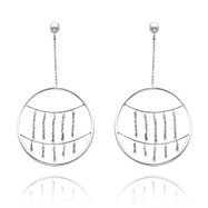 14K White Gold Circle Ball Dangle Earrings