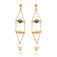 14K Gold Black Pink And White Pearl Dangle Earrings