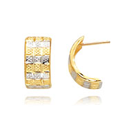 14K Gold & Rhodium 8mm Fancy Post Earrings