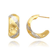 14K Gold & Rhodium 7.75mm Fancy Post Earrings