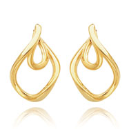 14K Gold Double Twisted Hoop Earrings