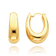 14K Gold Puffed Oval Hoop Earrings