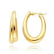 14K Gold Double Oval Hoop Earrings