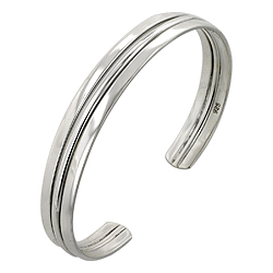 Sterling Silver Triple Lane Cuff