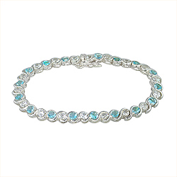 Sterling Silver Single Wave 6mm Tennis Bracelet with White and Light Blue CZ