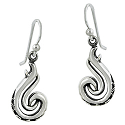 Sterling Silver Double Curve Celtic Pattern Dangle Earrings