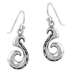 Sterling Silver Curl Celtic Pattern Dangle Earrings