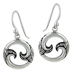 Sterling Silver Curls in Circle Celtic Style Dangle Earrings
