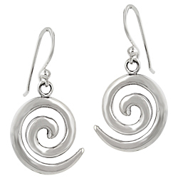 Sterling Silver Spiral Dangle Earrings