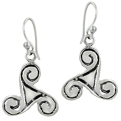 Sterling Silver Three Curls Dangle Earrings