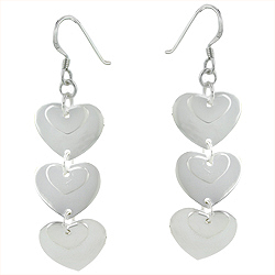 Sterling Silver Cascading Hearts Dangle Earrings