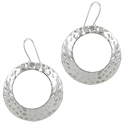 Sterling Silver Hammered Open Circle Dangle Earrings