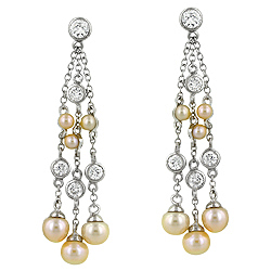 Designer Inspired Sterling Silver Rhodium Finish Pearl Stream Stud Earrings with CZ