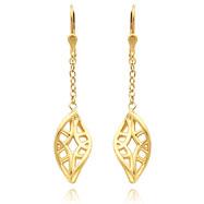 14K Gold Filigree Dangle Leverback Earrings