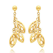 14K Gold Triple Filigree Drop Dangle Post Earrings