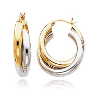 14K Two-Tone Gold Polished Double Tube Hoop Earrings